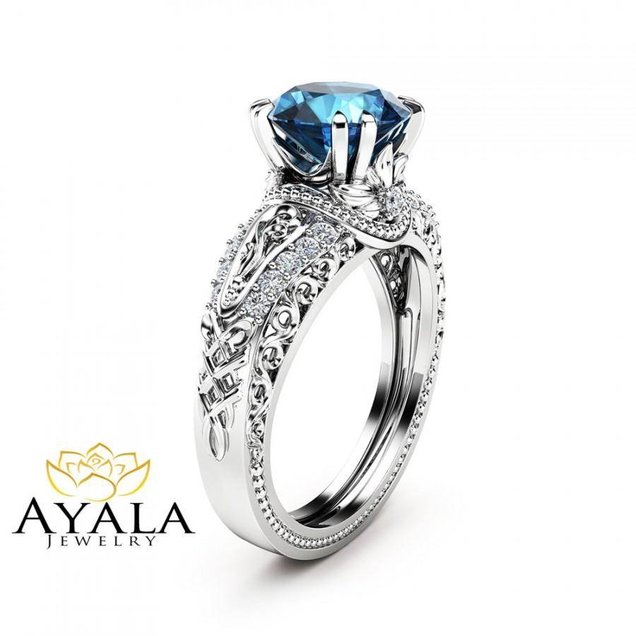 London Blue Topaz Engagement Ring 14K White Gold 2 Carat Topaz Regarding London Gold Engagement Rings (Gallery 6 of 15)