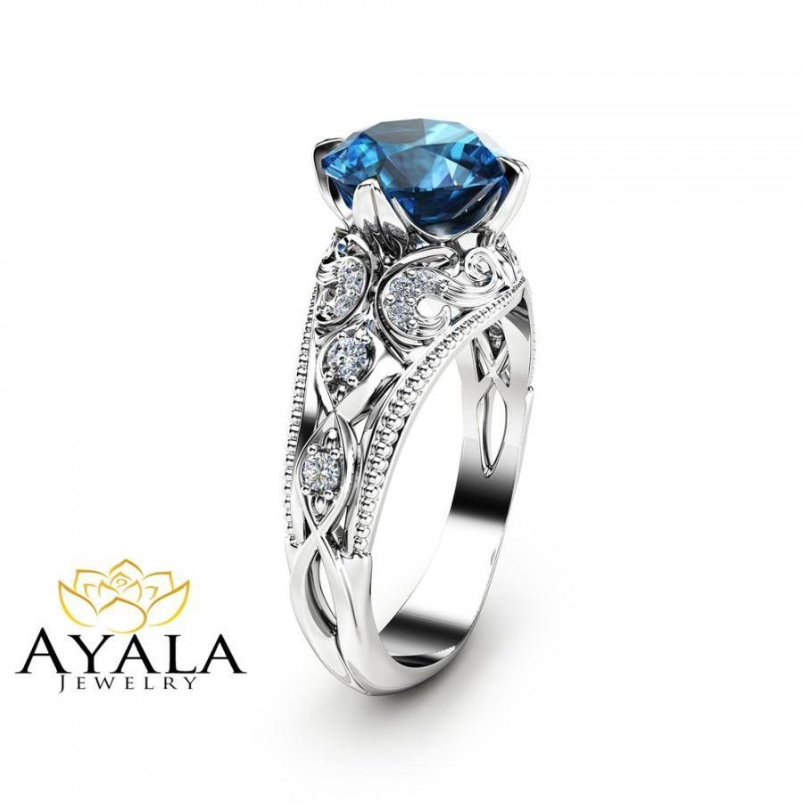 London Blue Topaz Engagement Ring 14K White Gold Alternative Ring For London Gold Engagement Rings (View 8 of 15)