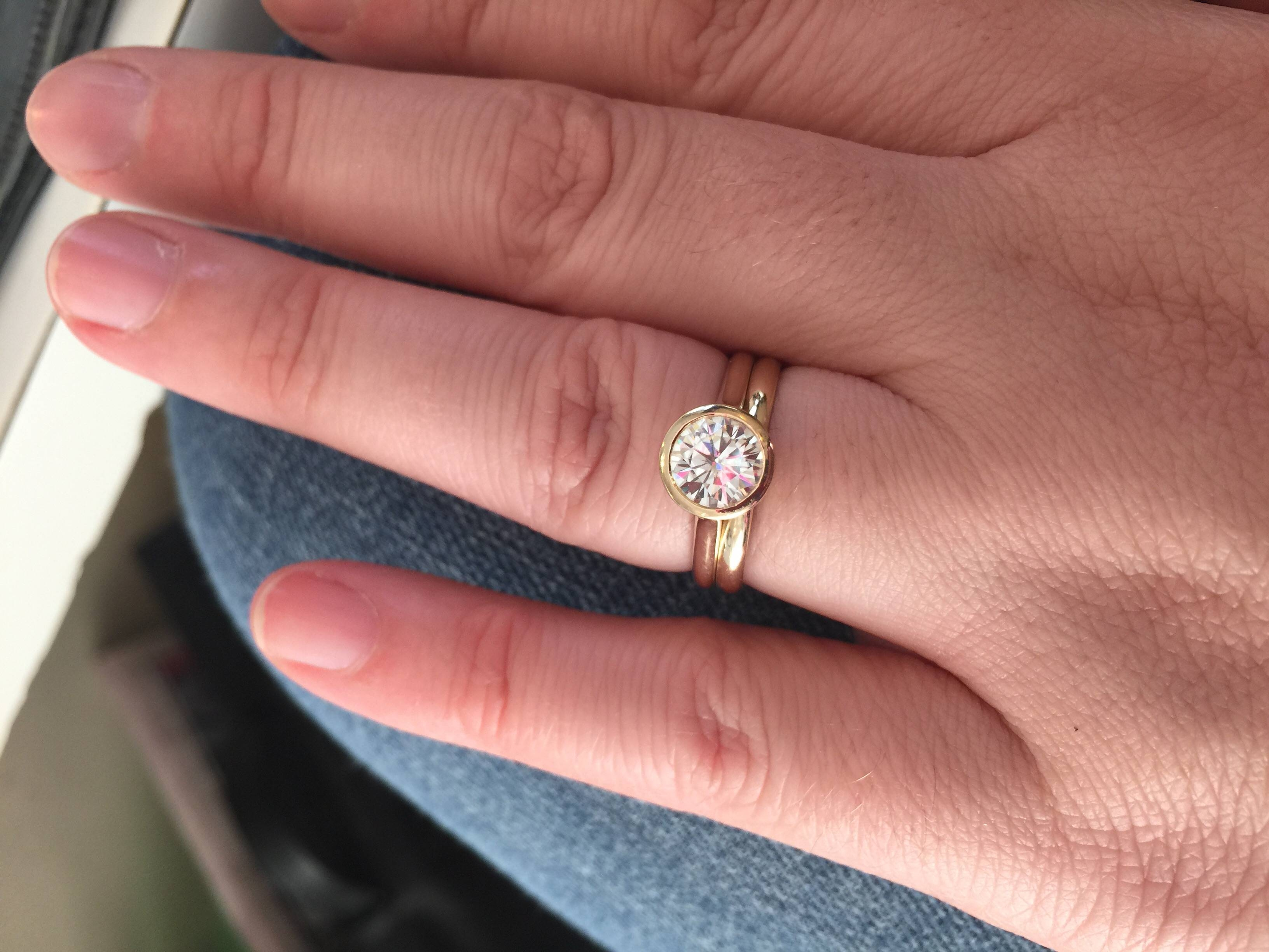 Looking For Ideas For Wedding Band With Bezel Set Engagement Ring Inside 2018 Bezel Set Engagement Rings With Wedding Bands (View 7 of 15)