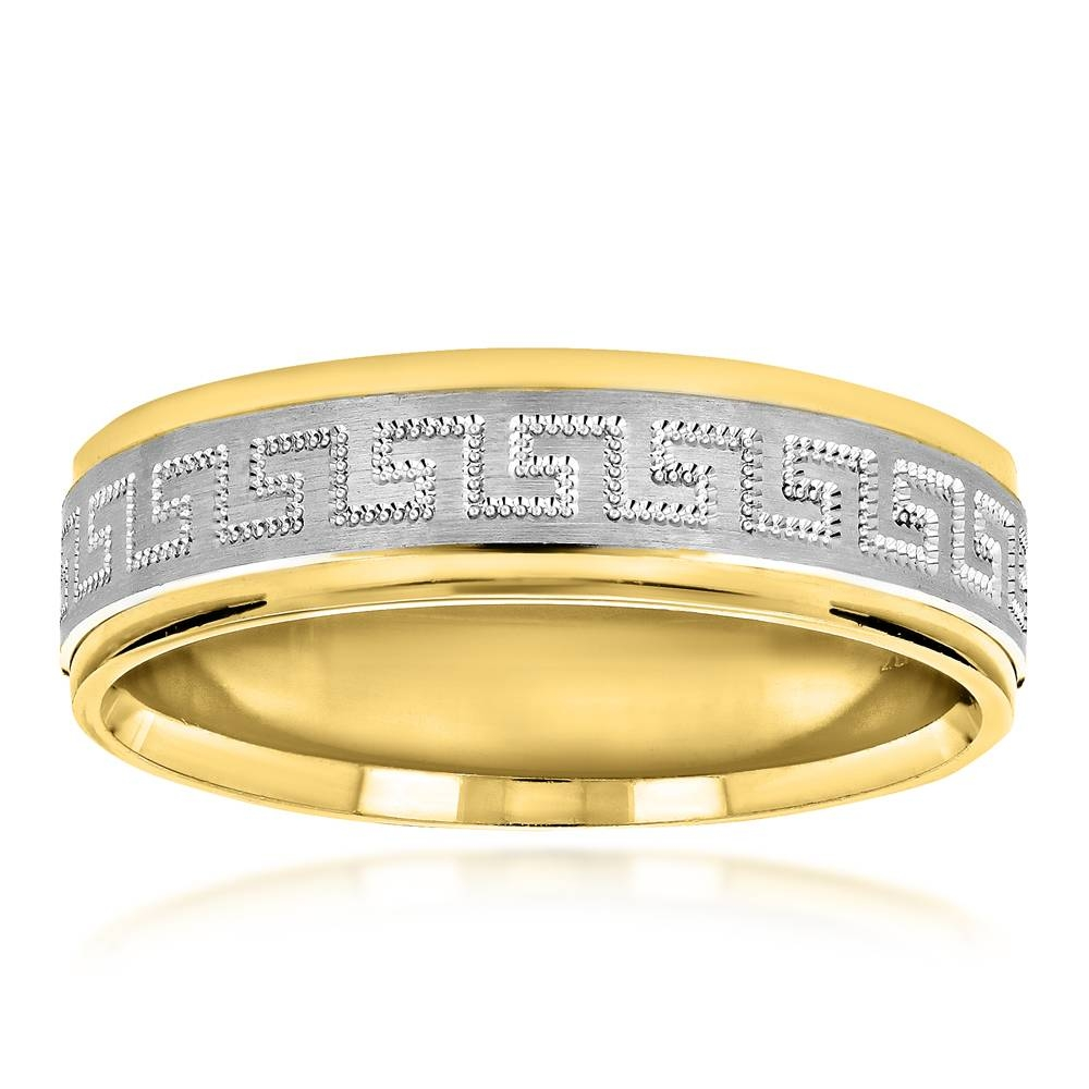 Looking Solid 14K Two Tone Gold Wedding Band For Men Comfort Fit Within Two Tone Men Wedding Bands (Gallery 13 of 15)