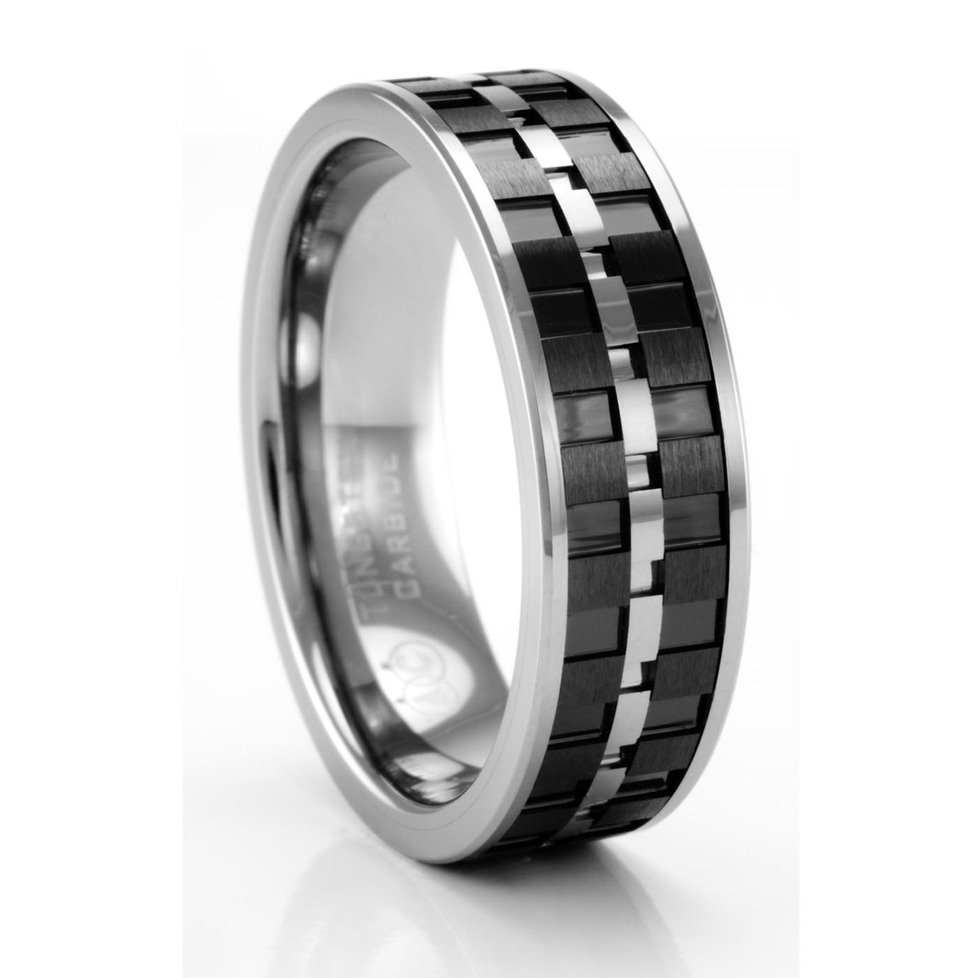 Lorenzo Tungsten & Carbon Fiber Ring – Artcarved – Men's Wedding Bands Throughout Carbon Wedding Bands (Gallery 8 of 15)