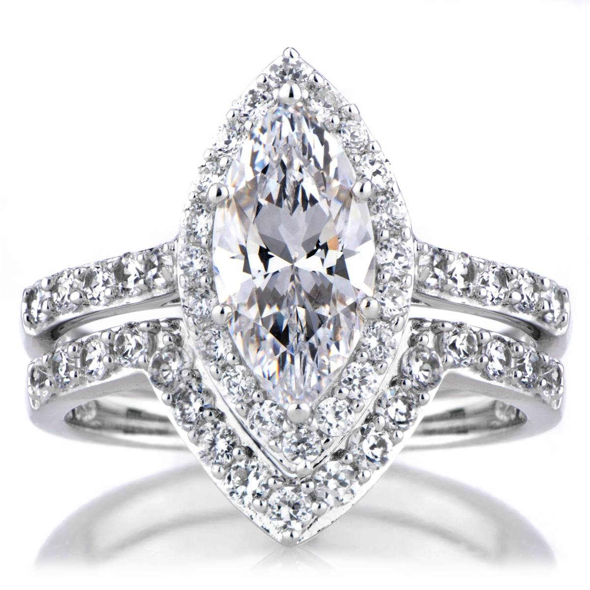 Marquise Cut Cz Engagement Ring And Guard Set Within Marquise Diamond Engagement Rings Settings (View 8 of 15)