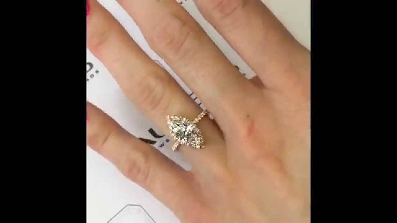 Marquise Diamond Engagement Ring In Rose Gold Micropave Halo – Youtube Inside Marquise Diamond Engagement Rings Settings (View 9 of 15)