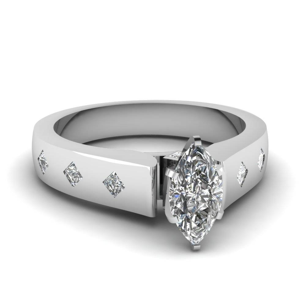 Marquise Shaped Diamond Flush Set Side Stone Ring In 950 Platinum With Regard To Most Recent Flush Set Diamond Wedding Bands (Gallery 15 of 15)