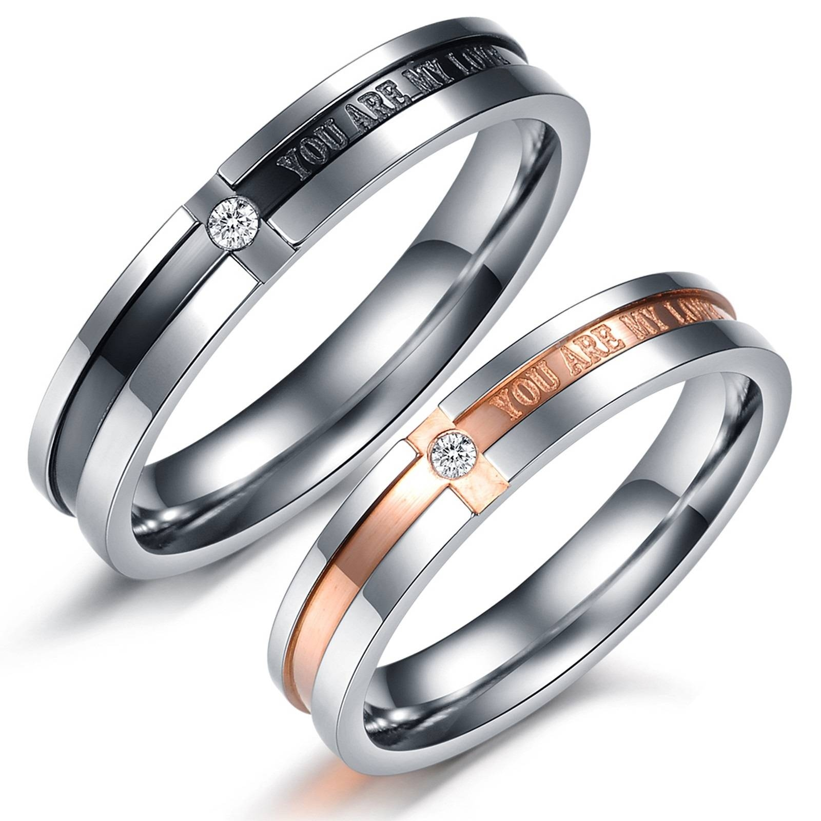 Matching Couple Titanium Steel Engagement Promise Ring Wedding With Regard To Wedding Bands To Match Solitaire Engagement Ring (Gallery 15 of 15)