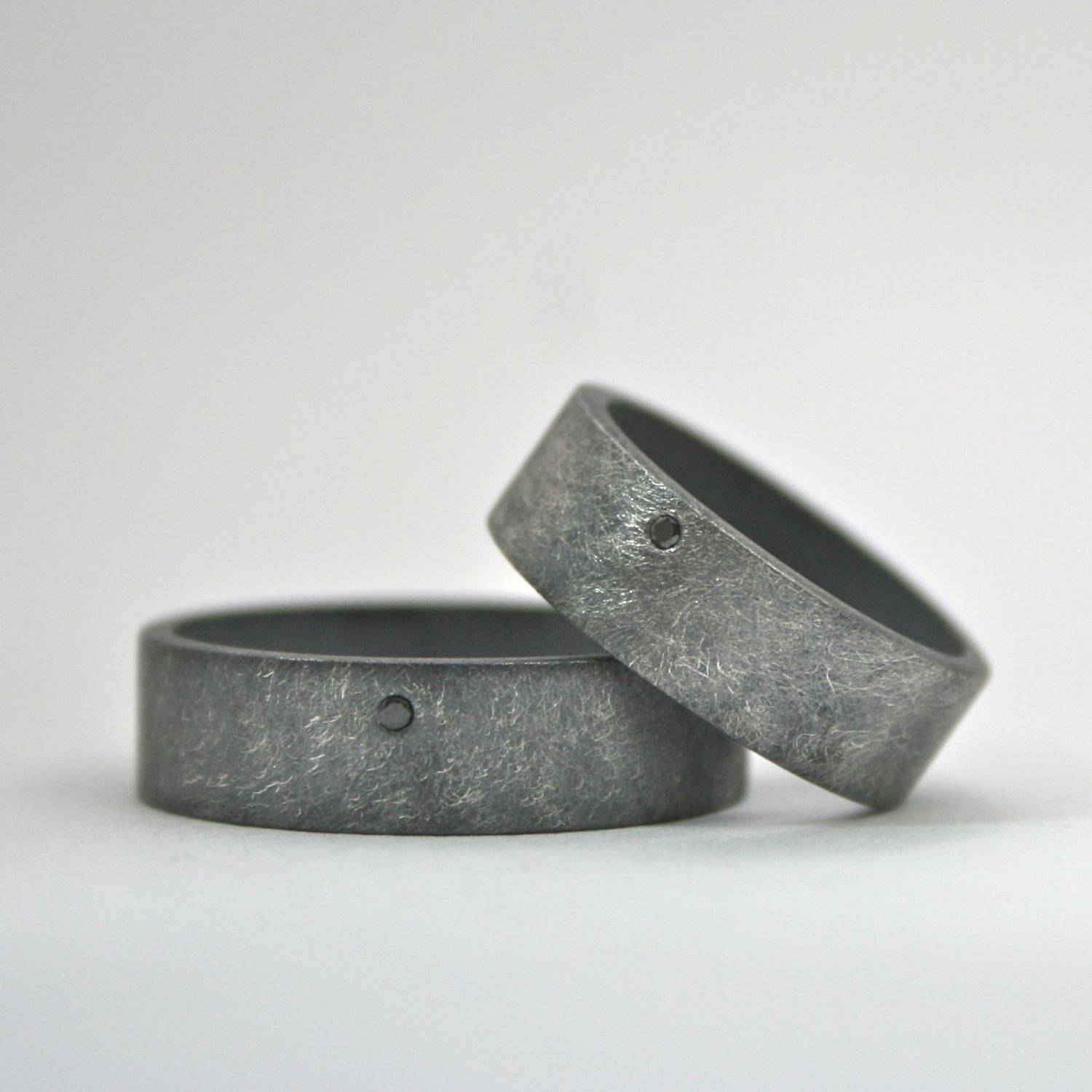 Matching Rings Wedding Band Set Black Diamond Oxidized Within Sterling Silver Diamond Wedding Bands (Gallery 13 of 15)