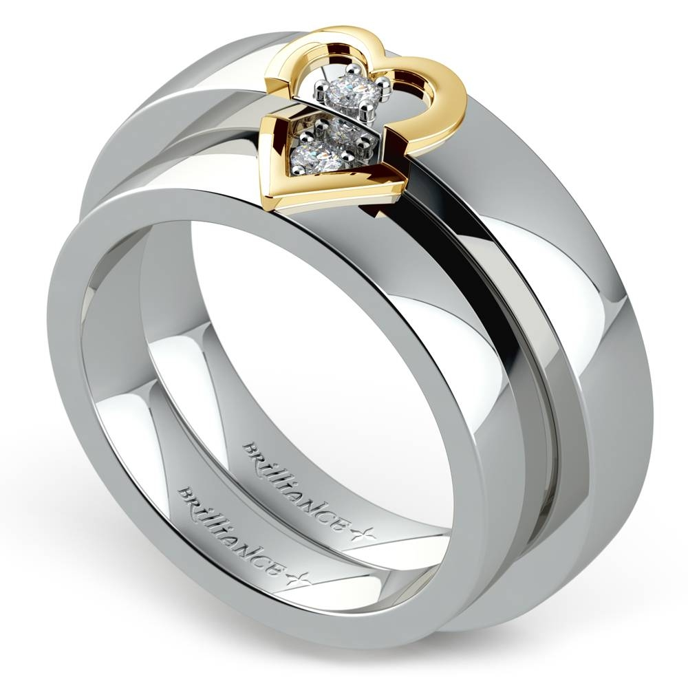 Matching Split Heart Diamond Wedding Ring Set In White And Yellow Gold With White And Yellow Gold Wedding Bands (View 11 of 15)