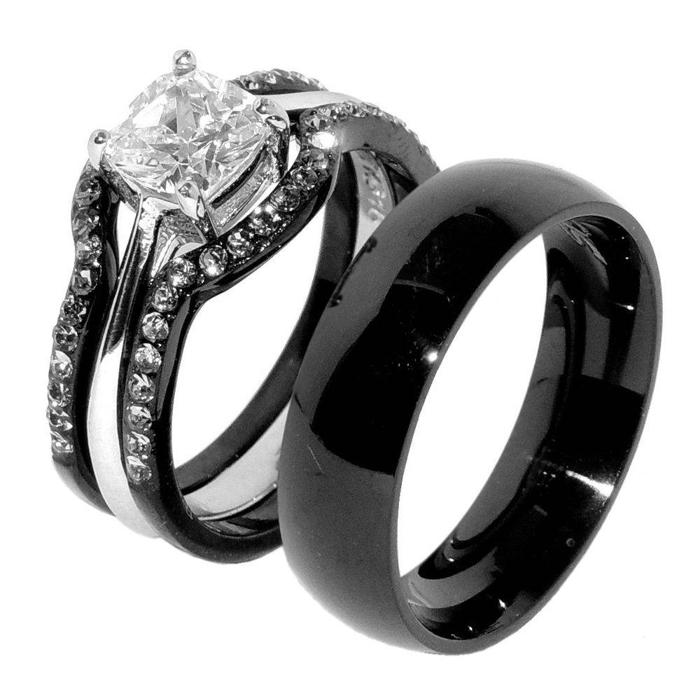 Matching Wedding Ring Sets | Ebay Inside Black Steel Wedding Bands (View 13 of 15)