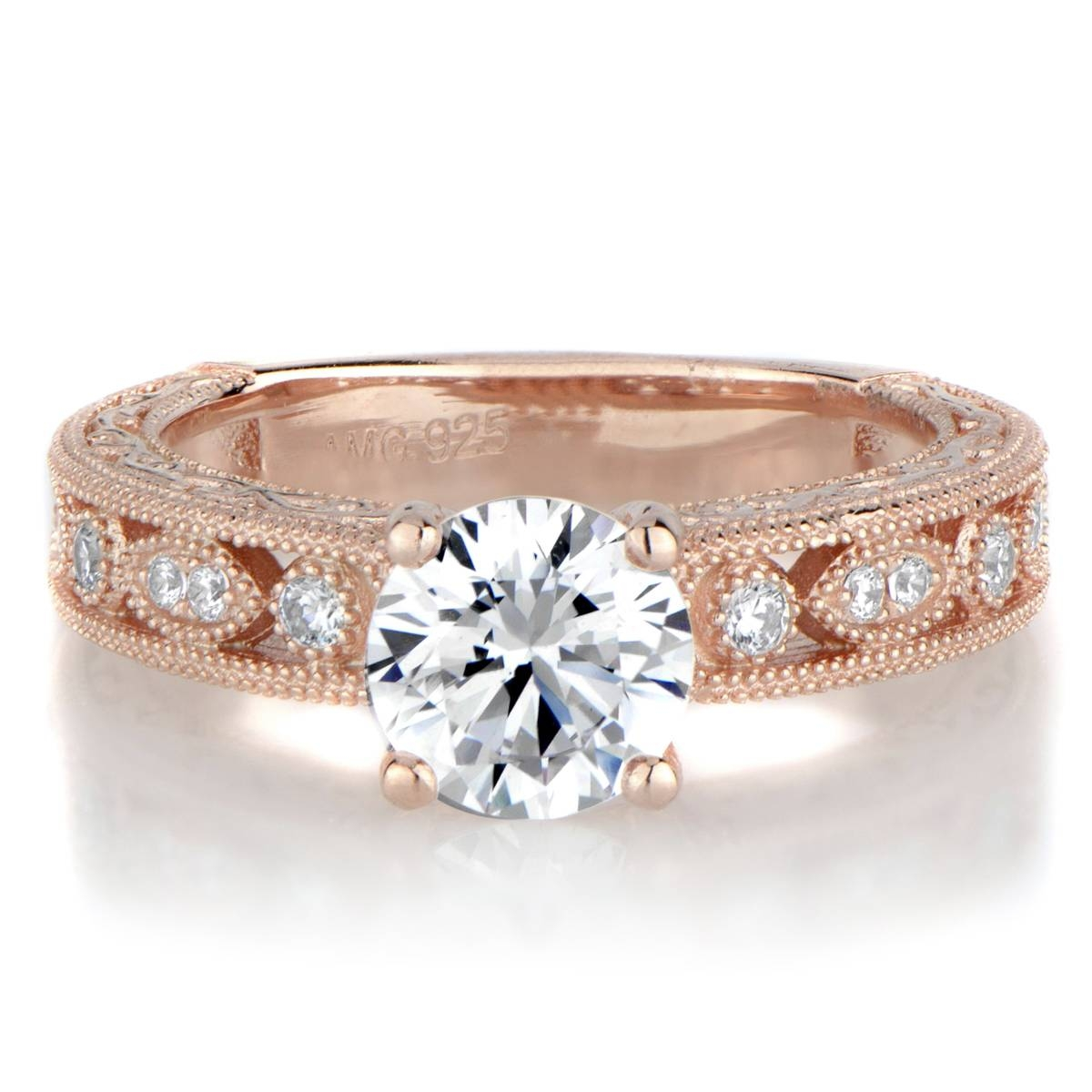 Maya's Round Cut Antique Style Rose Goldtone Engagement Ring In Round Antique Engagement Rings (View 9 of 15)