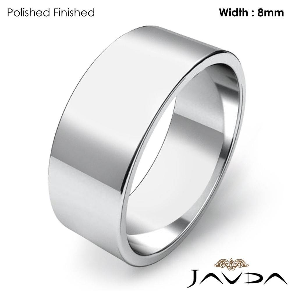 Men Wedding Band Flat Pipe Cut Plain Ring 8Mm 14K White Gold 8.6Gm Intended For Plain Mens Wedding Bands (Gallery 7 of 15)