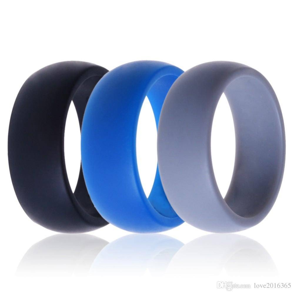 Men Women Silicone Wedding Ring Black Grey Blue Band Rubber Ring Inside Blue Wedding Bands For Men (Gallery 11 of 15)