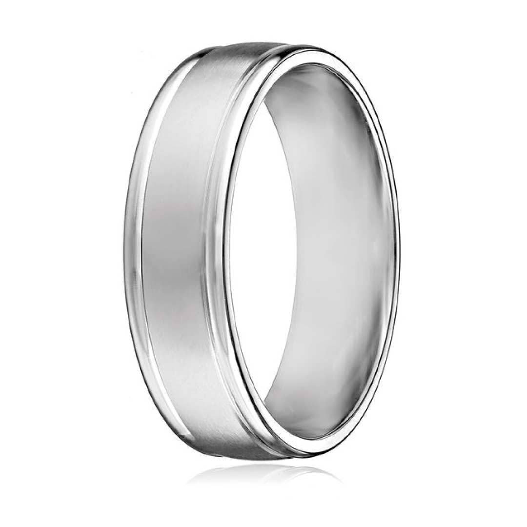 Men's 10K White Gold 6Mm Comfort Fit Round Edge Plain Wedding Band For Mens Wedding Bands Comfort Fit (View 8 of 15)