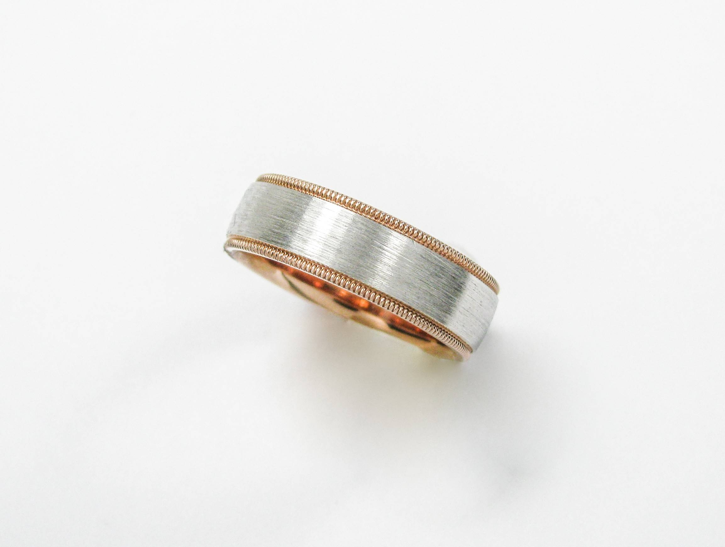 Men's 14K Rose And White Gold Wedding Band – Chas. S (View 10 of 15)
