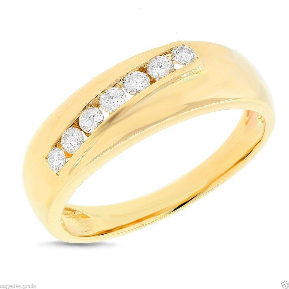 Mens 14K Yellow Gold Channel Set 7 Stone Sideway Round Diamond Throughout Most Recent Yellow Gold Channel Set Wedding Bands (Gallery 7 of 15)