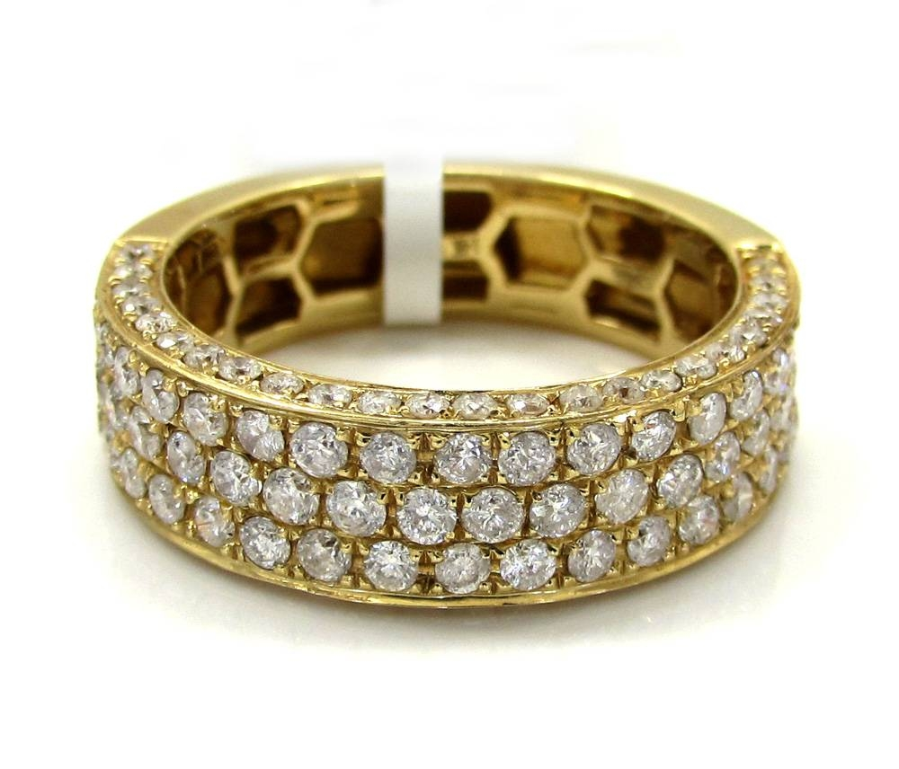 Mens 14k Yellow Gold Half Diamond Iced Out Wedding Band (View 9 of 15)