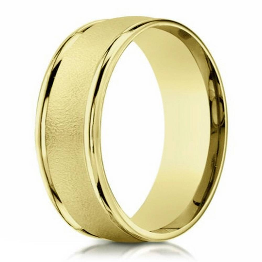 Men's 18K Sand Blasted Yellow Gold Men's Designer Wedding Band Inside Newest 18K Gold Wedding Bands (Gallery 2 of 15)