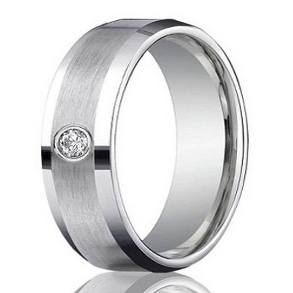 Men's 4mm Palladium Wedding Ring With Round Diamond Satin Finish Regarding Mens Wedding Rings Palladium (Gallery 12 of 15)