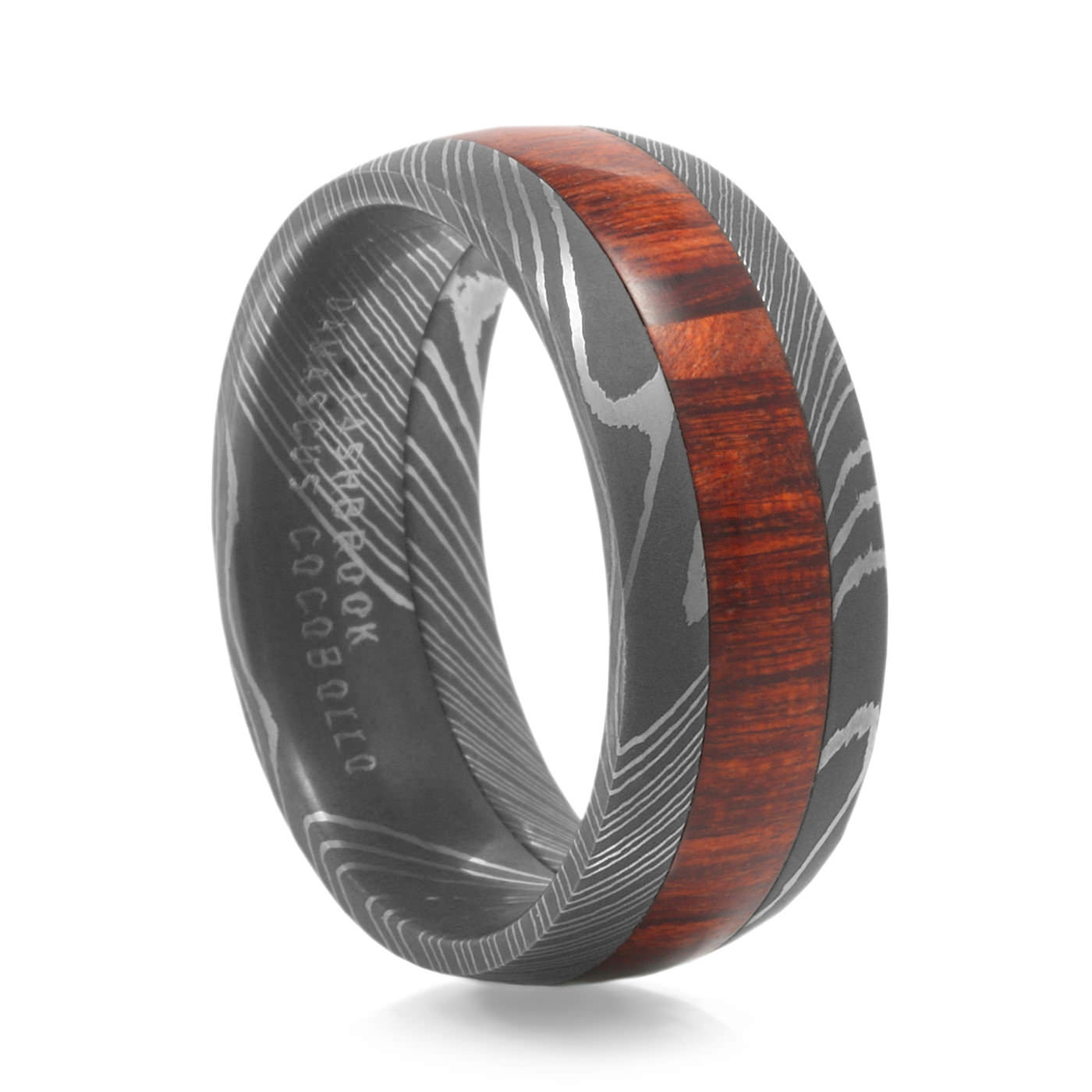 Men's Arbor Wood Grain Damascus Steel Ringlashbrook Regarding Wood Inlay Wedding Bands (Gallery 9 of 15)