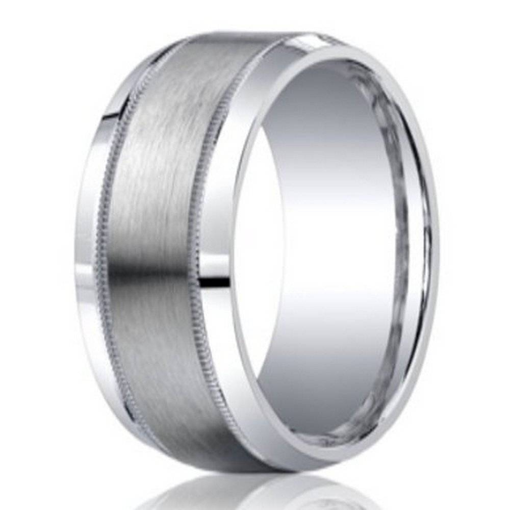 Men's Argentium Silver Ring With Milgrain Edge | 9mm Intended For Silver Mens Wedding Rings (View 10 of 15)