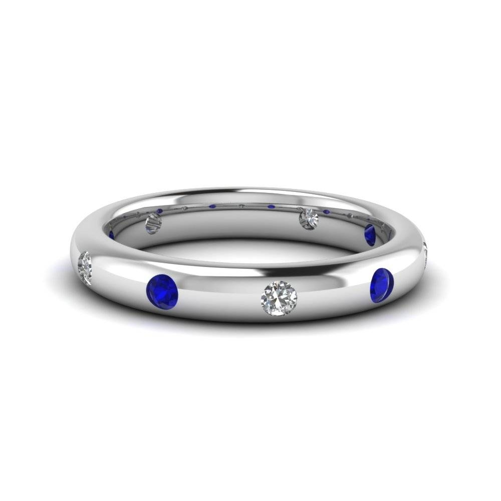 Mens Bezel Set Diamond Band With Blue Sapphire In 18K White Gold Inside 2017 Bezel Set Engagement Rings With Wedding Bands (Gallery 11 of 15)