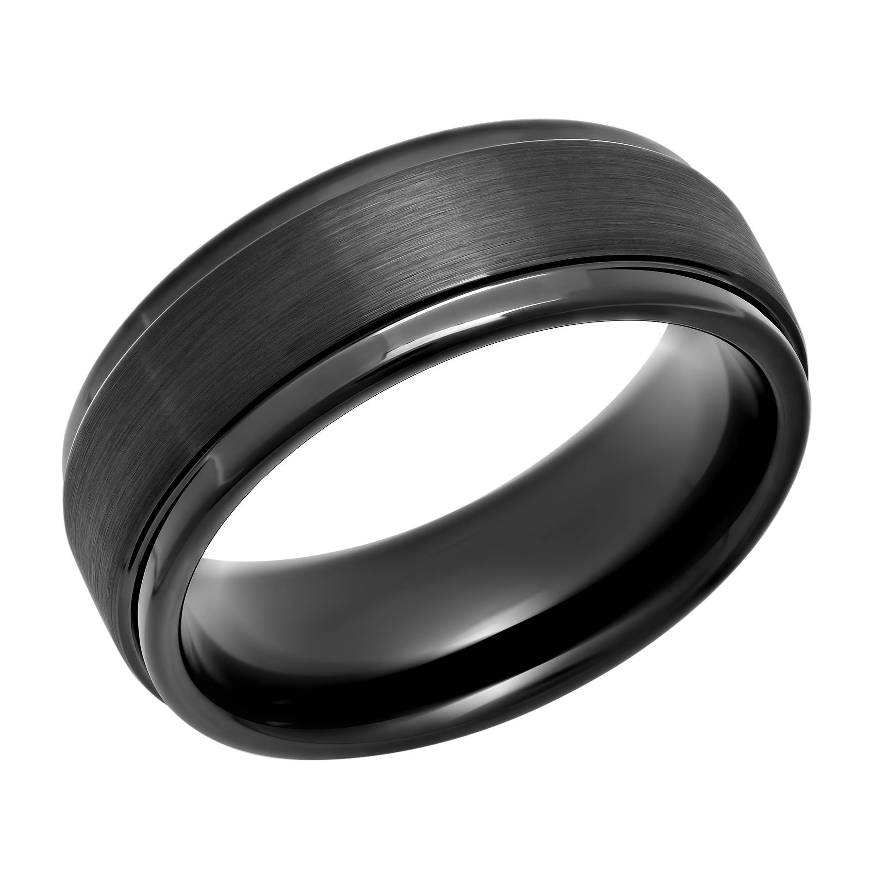 Men's Black Ip Tungsten 8Mm Step Edge Comfort Fit Wedding Band Inside Black Tungsten Wedding Bands (Gallery 14 of 15)