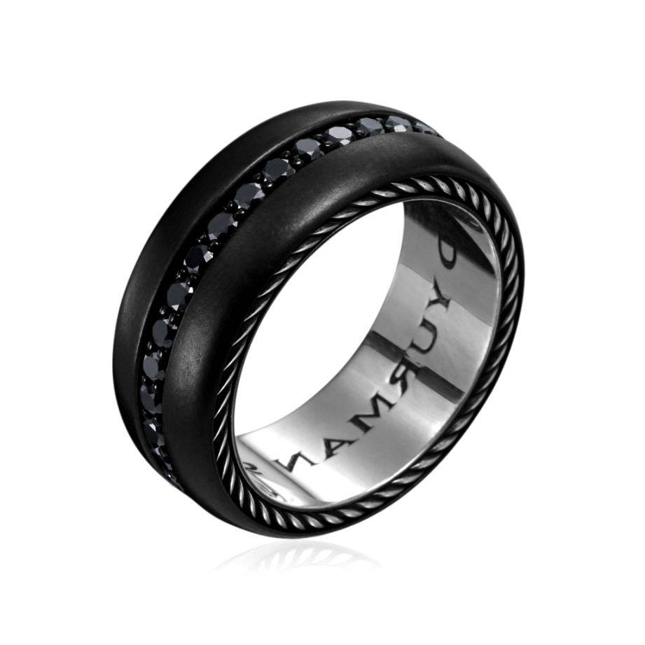 Mens Black Titanium Wedding Bands With Diamonds (View 12 of 15)