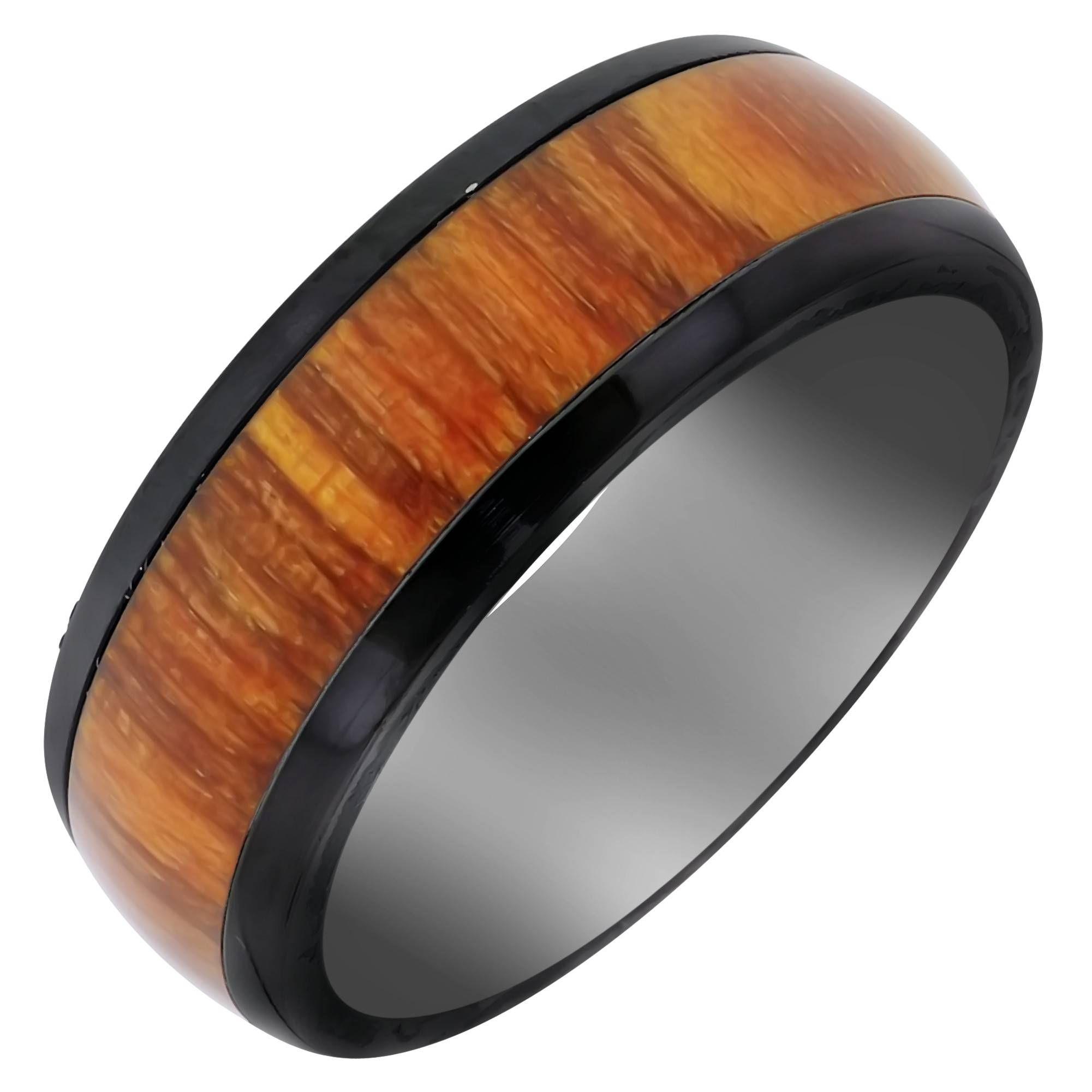 Mens Black Zirconium Orangewood Wedding Band (8Mm) With Black Zirconium Wedding Bands (View 13 of 15)