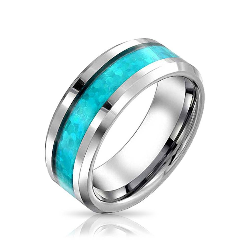 Mens Blue Opal Look Inlay Tungsten Wedding Band Ring Regarding Mens Wedding Bands With Engraving (Gallery 11 of 15)