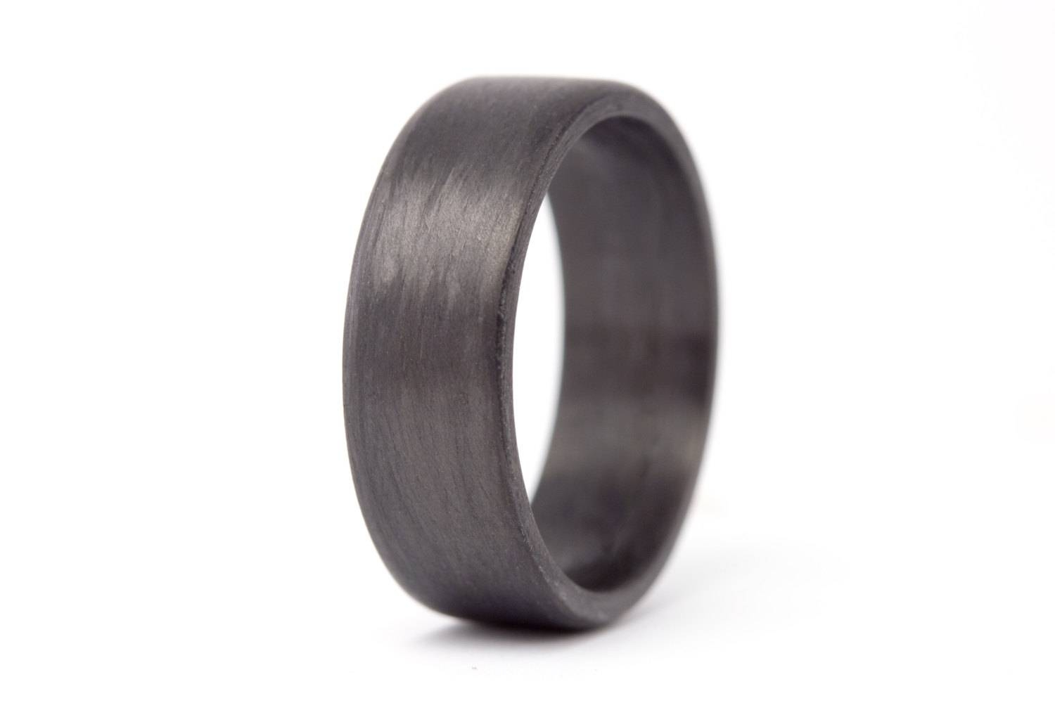 Men's Carbon Fiber Flat Ring. Unique Black Wedding Band For Carbon Wedding Bands (Gallery 14 of 15)