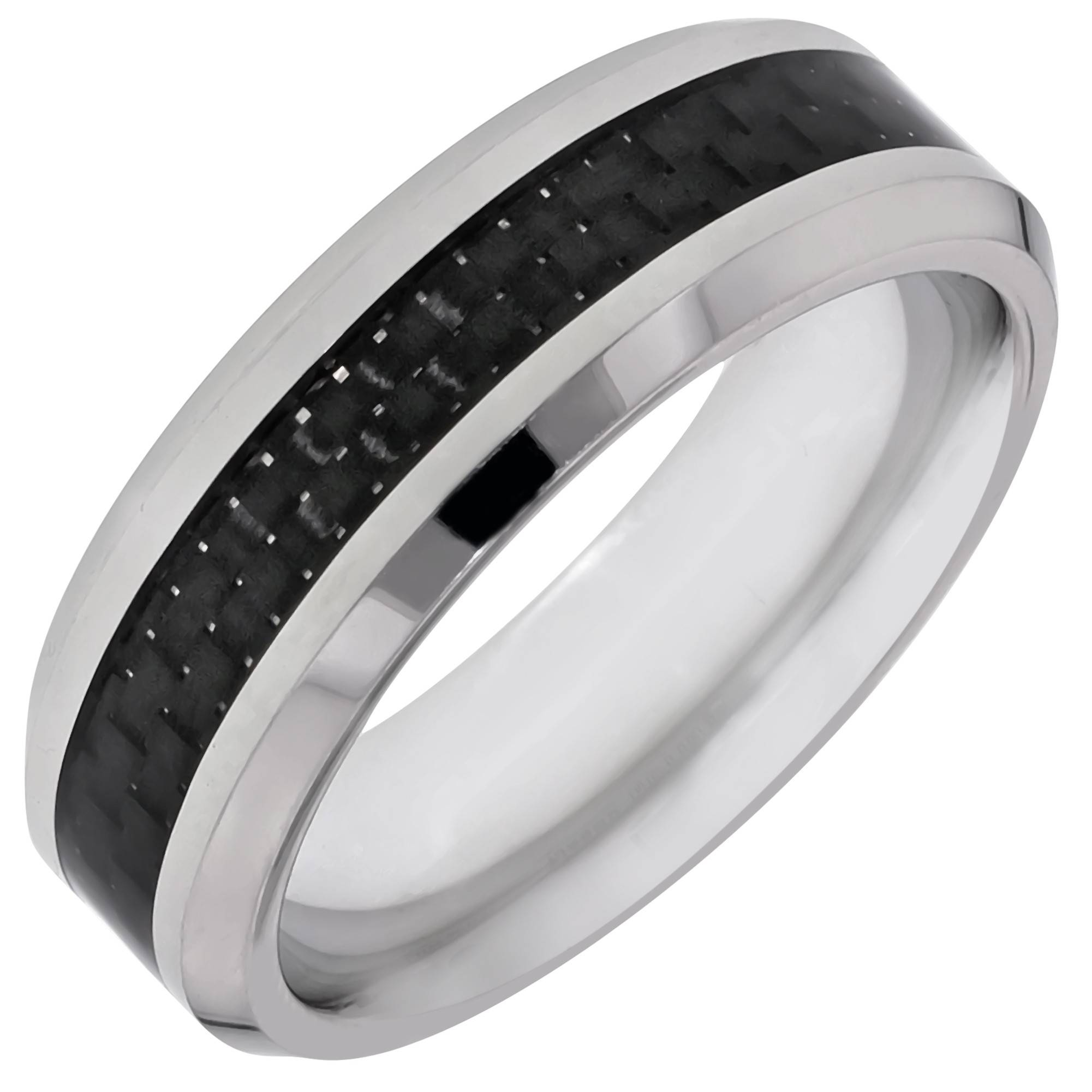 Mens Cobalt Chrome And Carbon Fiber Comfort Fit Wedding Band (7Mm) Pertaining To Carbon Wedding Bands (View 13 of 15)
