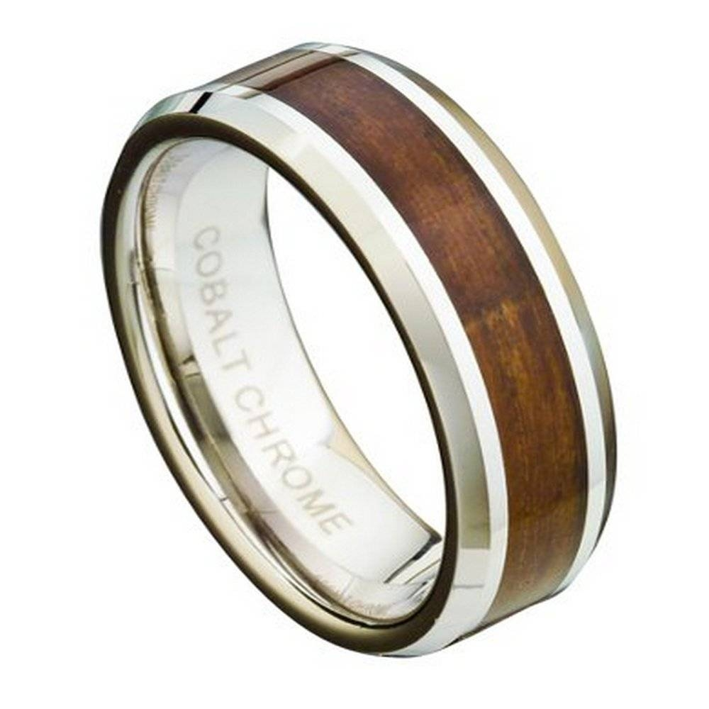 Men's Cobalt Chrome Wedding Ring With Koa Wood Inlay: Wooden In Wood Inlay Wedding Rings (Gallery 2 of 15)