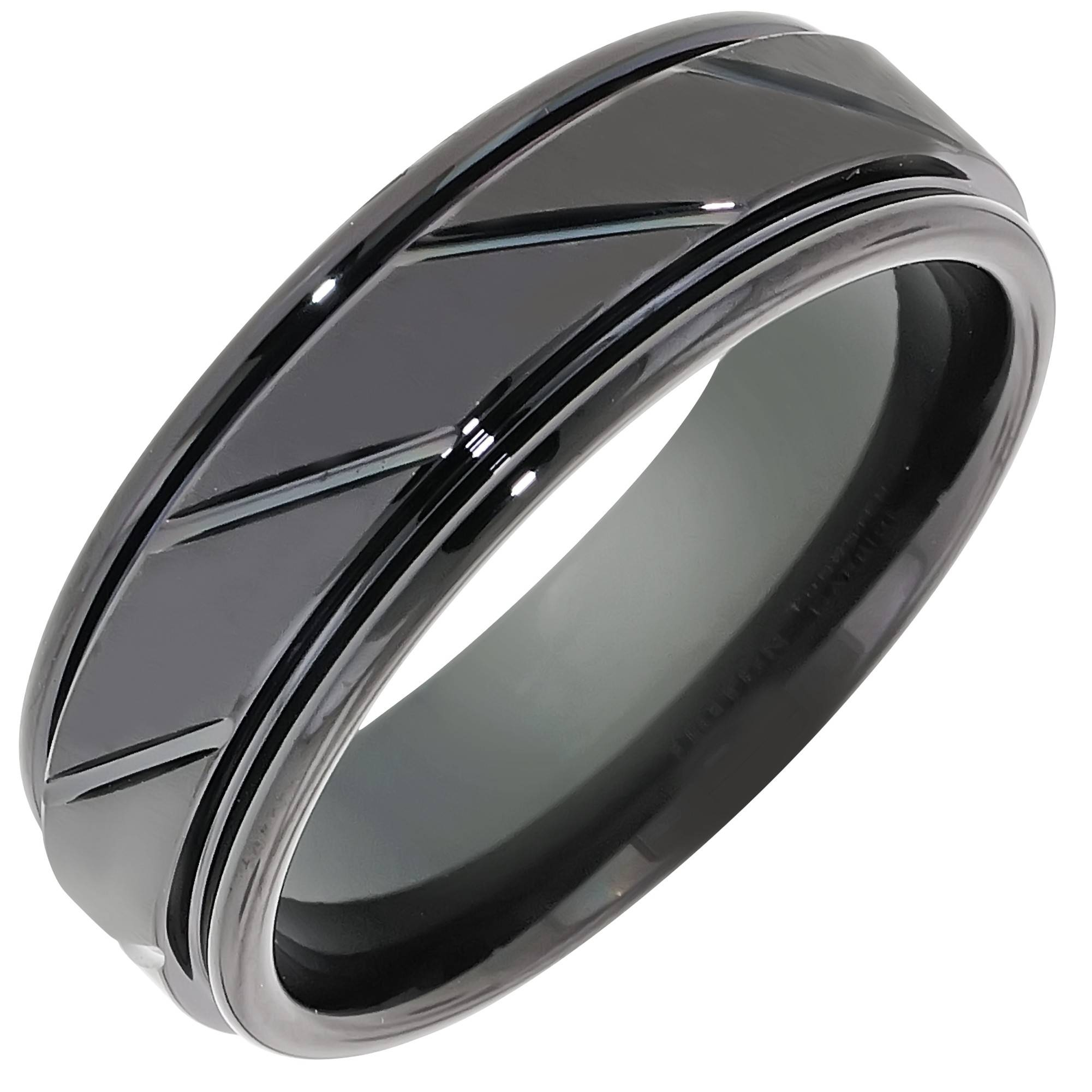 Mens Comfort Fit Wedding Band In Black Tungsten (7mm) With Black Mens Wedding Bands (View 2 of 15)