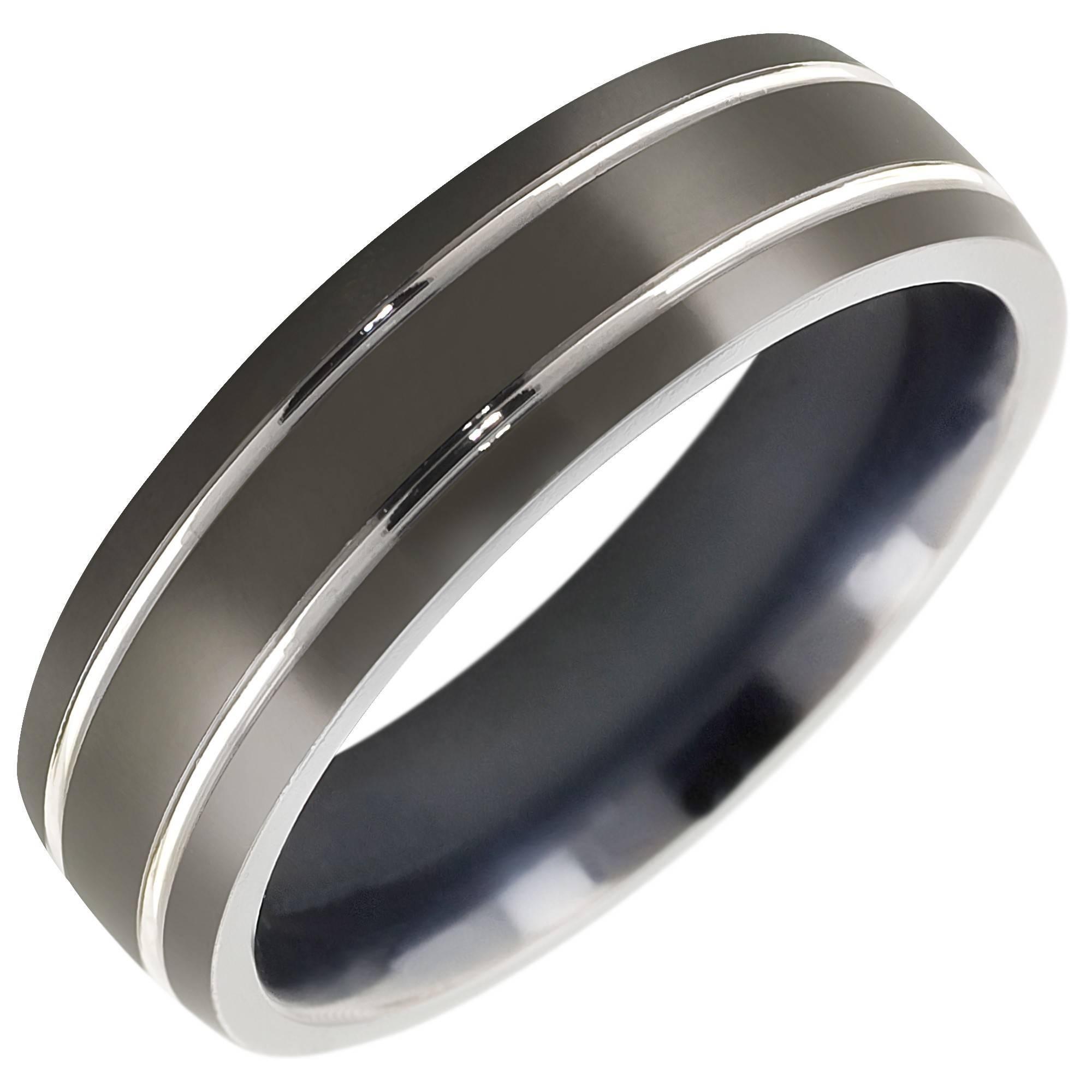 Mens Comfort Fit Wedding Band In Titanium (7Mm) Inside Titanium Men Wedding Rings (View 6 of 15)