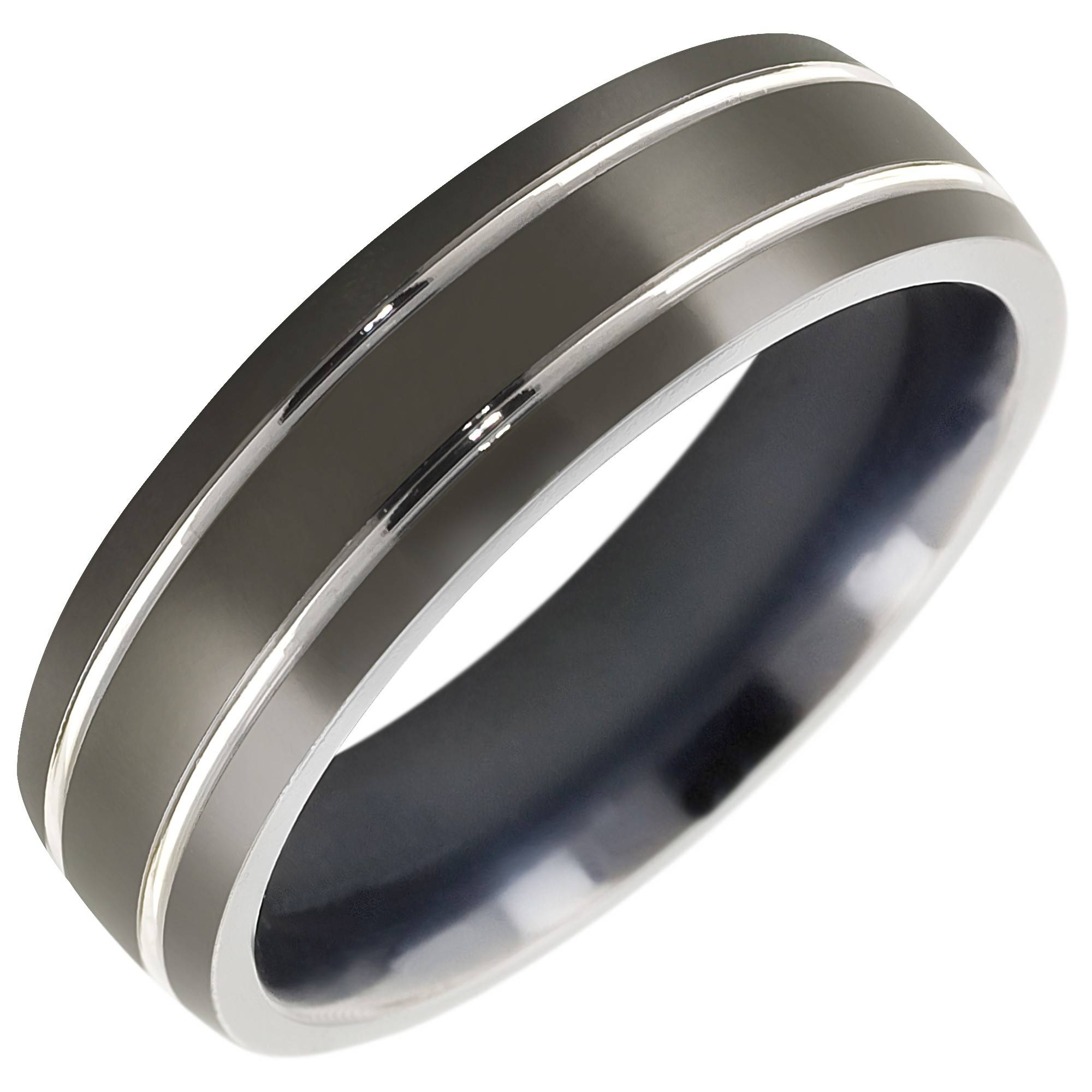 Mens Comfort Fit Wedding Band In Titanium (7Mm) Throughout Titanium Men Wedding Bands (View 4 of 15)