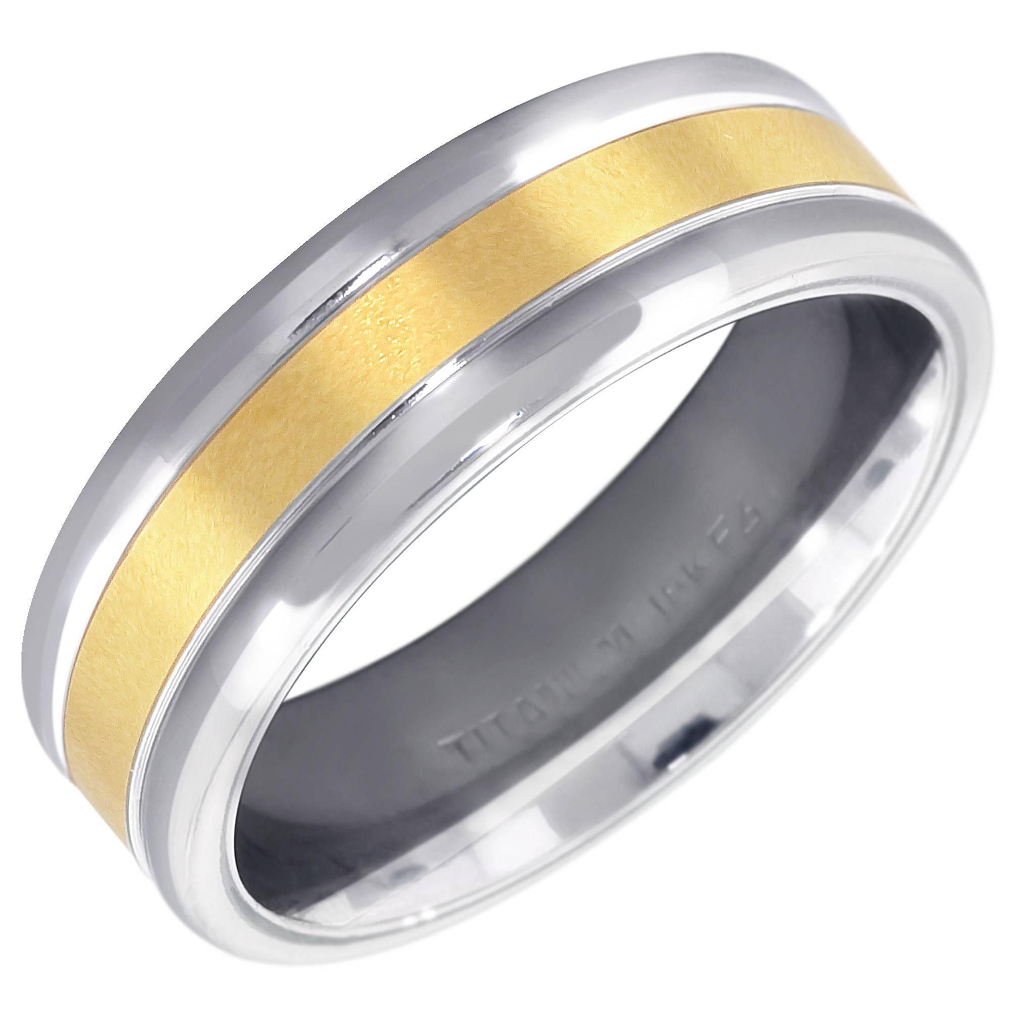 Mens Comfort Fit Wedding Band In Titanium And 18Kt Yellow Gold (7Mm) With Regard To Silver And Gold Mens Wedding Bands (View 13 of 15)