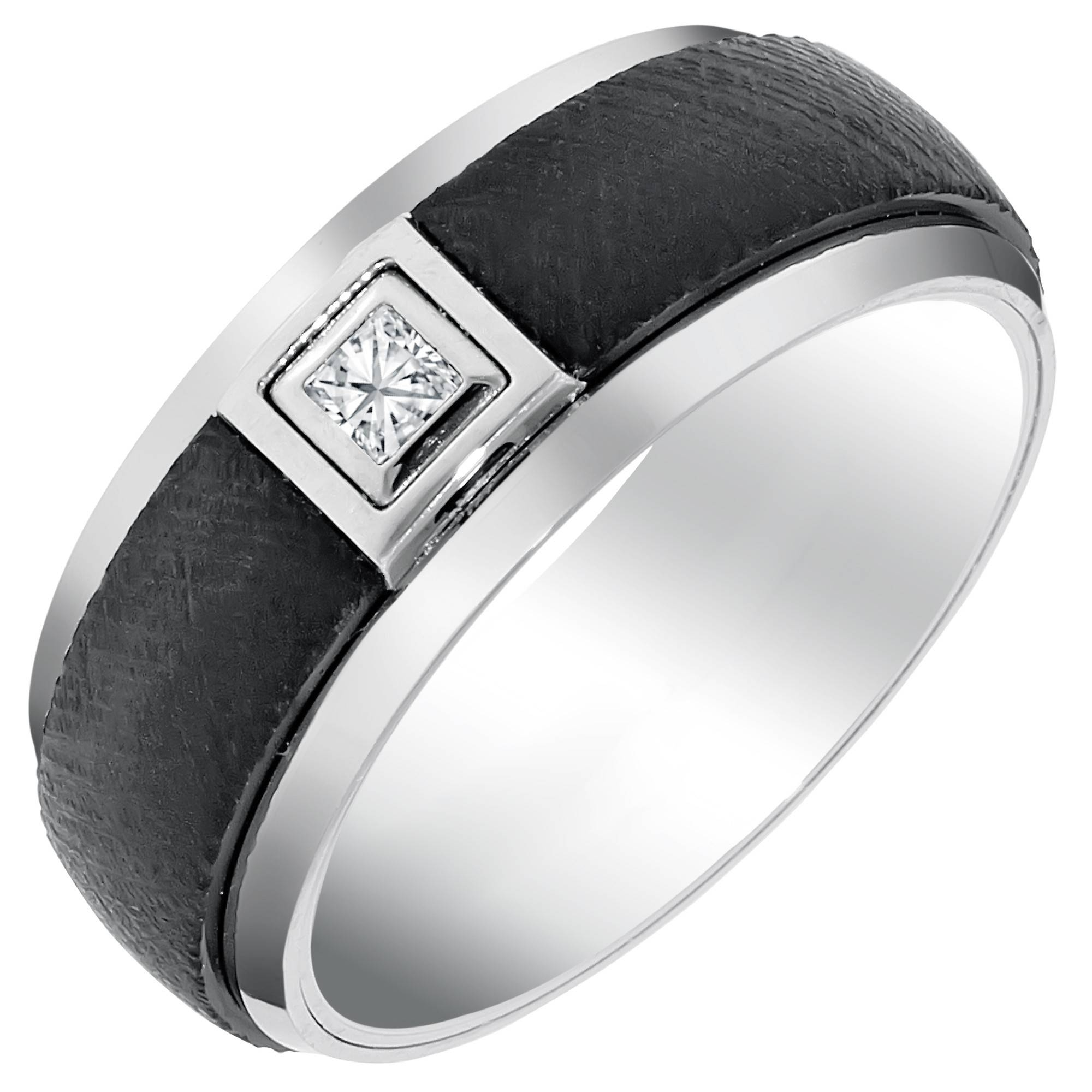 Mens Comfort Fit Wedding Band With Diamond In White And Black Within Mens Black Tungsten Wedding Bands With Diamonds (View 8 of 15)
