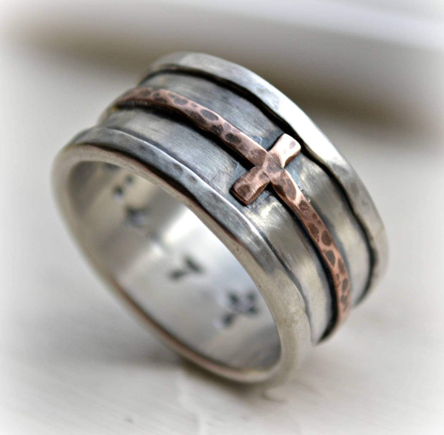 Mens Cross Wedding Band Rustic Hammered Cross Ring Oxidized Intended For Silver Wedding Bands For Him (View 9 of 15)