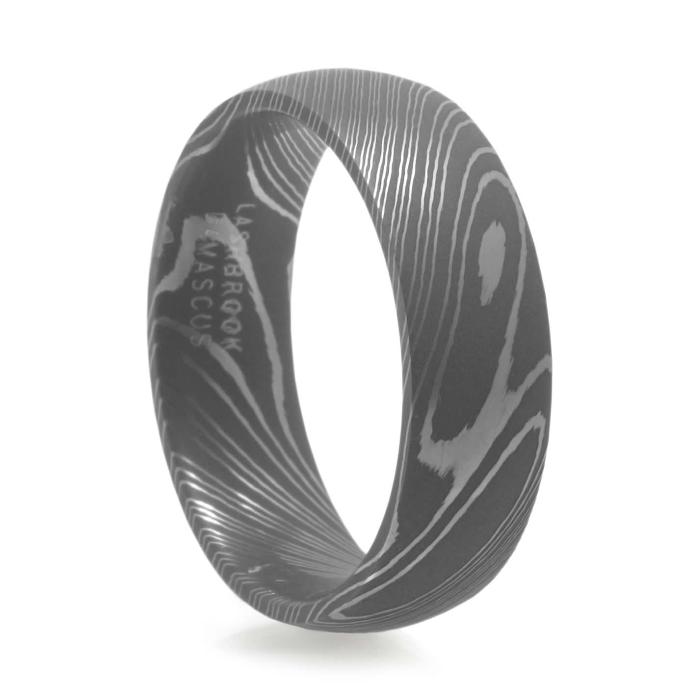 Men's Damascus Steel Ring – Lashbrook – Men's Wedding Band For Current Mes Wedding Bands (View 7 of 15)
