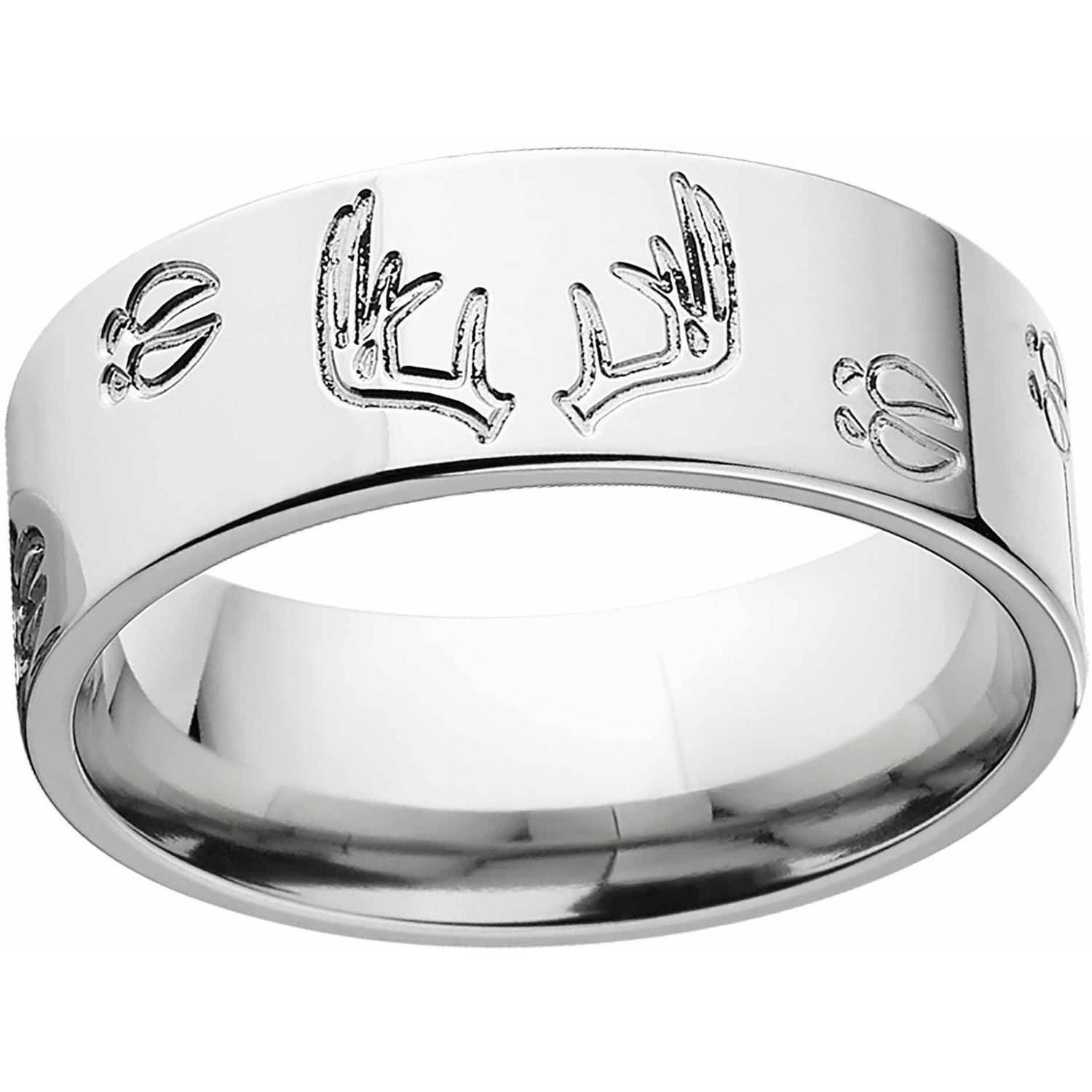 Men's Deer Track And Rack Durable 8Mm Stainless Steel Wedding Band Throughout Durable Wedding Bands For Men (Gallery 10 of 15)