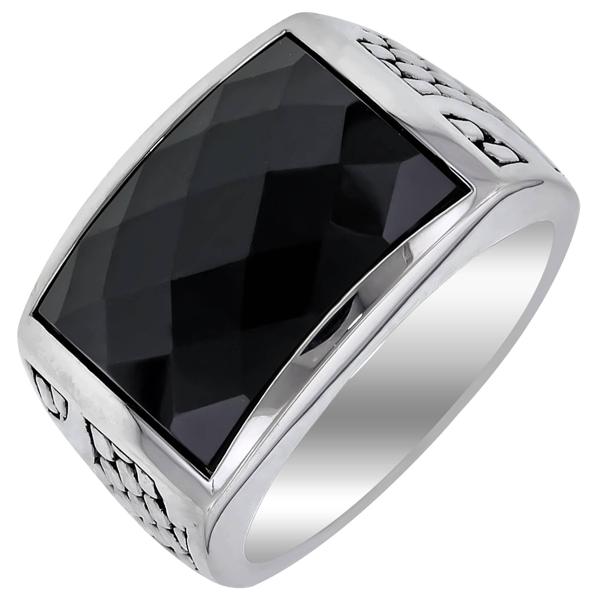 mens faceted black onyx ring in sterling silver inside mens black onyx wedding rings gallery - Black Onyx Wedding Ring