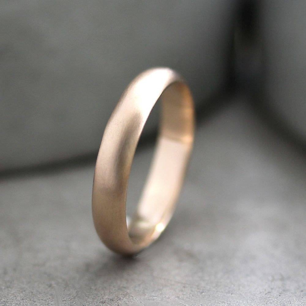 Men's Gold Wedding Band 4Mm Half Round Recycled Metal 14K Intended For 4Mm Mens Wedding Bands (View 7 of 15)