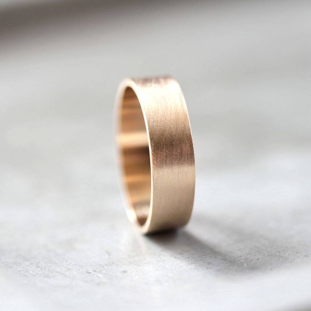 Men's Gold Wedding Band 6mm Wide Brushed Flat 10k Pertaining To 2017 Mens Flat Wedding Bands (View 3 of 15)