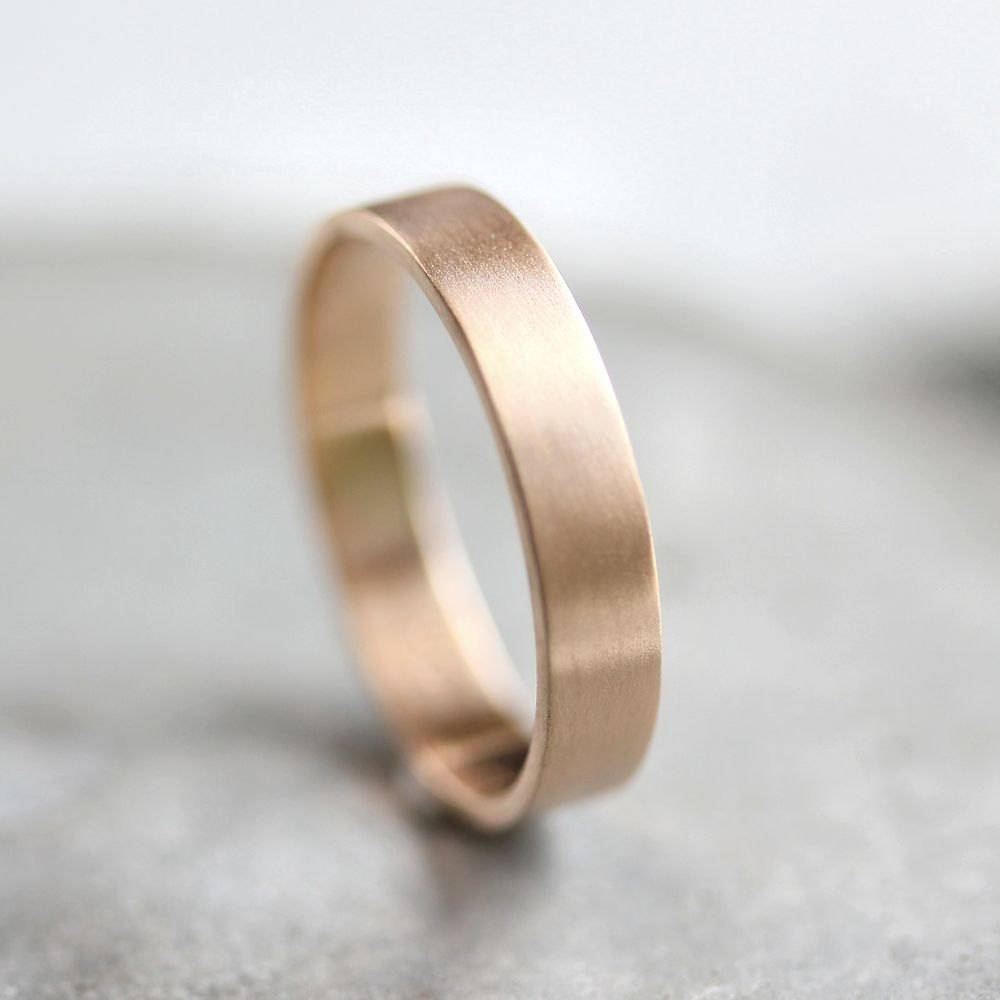 Men's Gold Wedding Band Unisex 4Mm Brushed Flat 10K Within Current Mens Flat Wedding Bands (View 8 of 15)