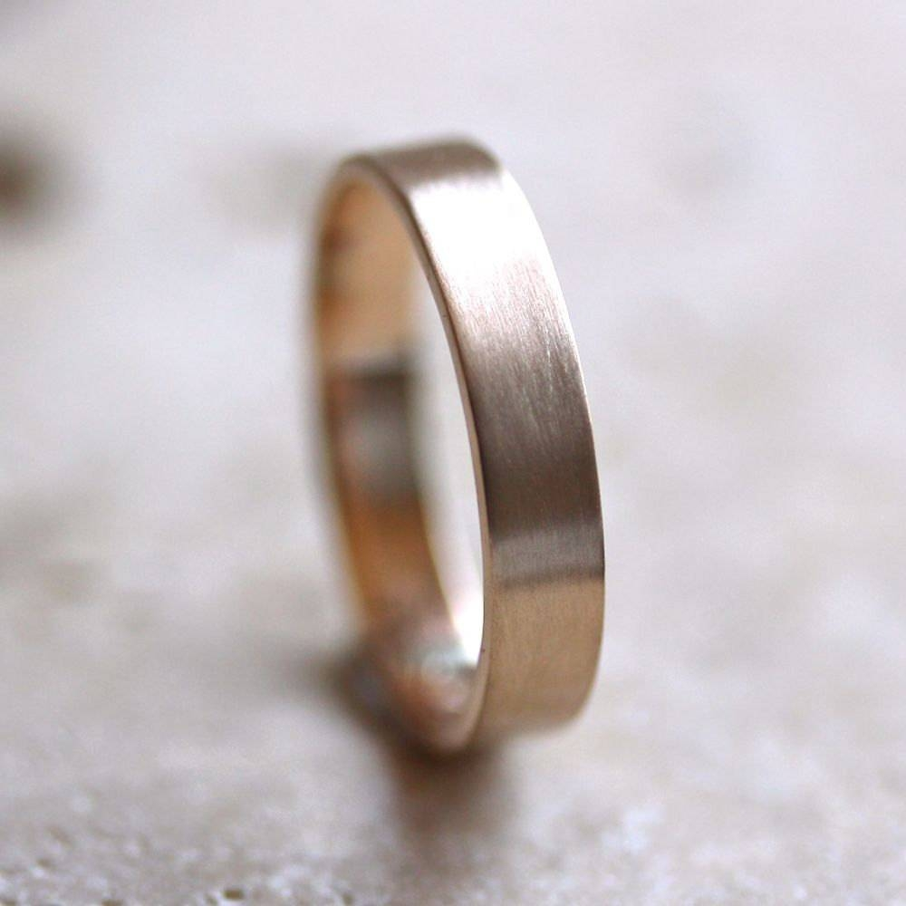 Mens' Gold Wedding Band Unisex 4Mm Brushed Flat 14K For 4Mm Mens Wedding Bands (Gallery 10 of 15)