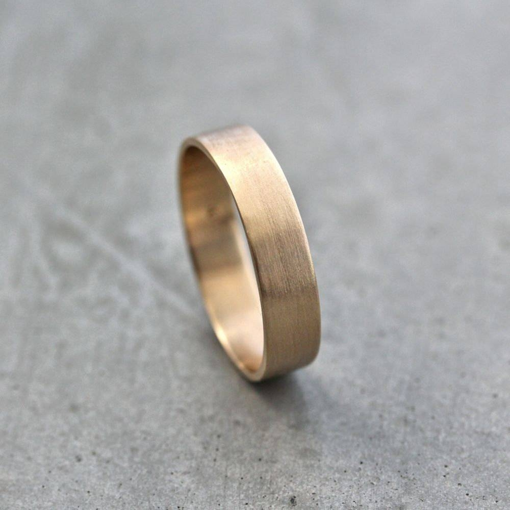 Men's Gold Wedding Band Unisex 5Mm Wide Brushed Flat 10K In Most Recently Released Mens Flat Wedding Bands (View 10 of 15)