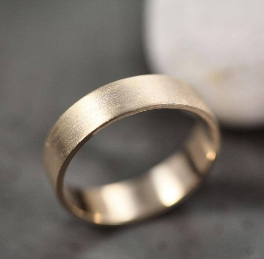 Men's Gold Wedding Band, Unisex 5Mm Wide Brushed Flat 14K Recycled Regarding Latest Mens Flat Wedding Bands (View 11 of 15)
