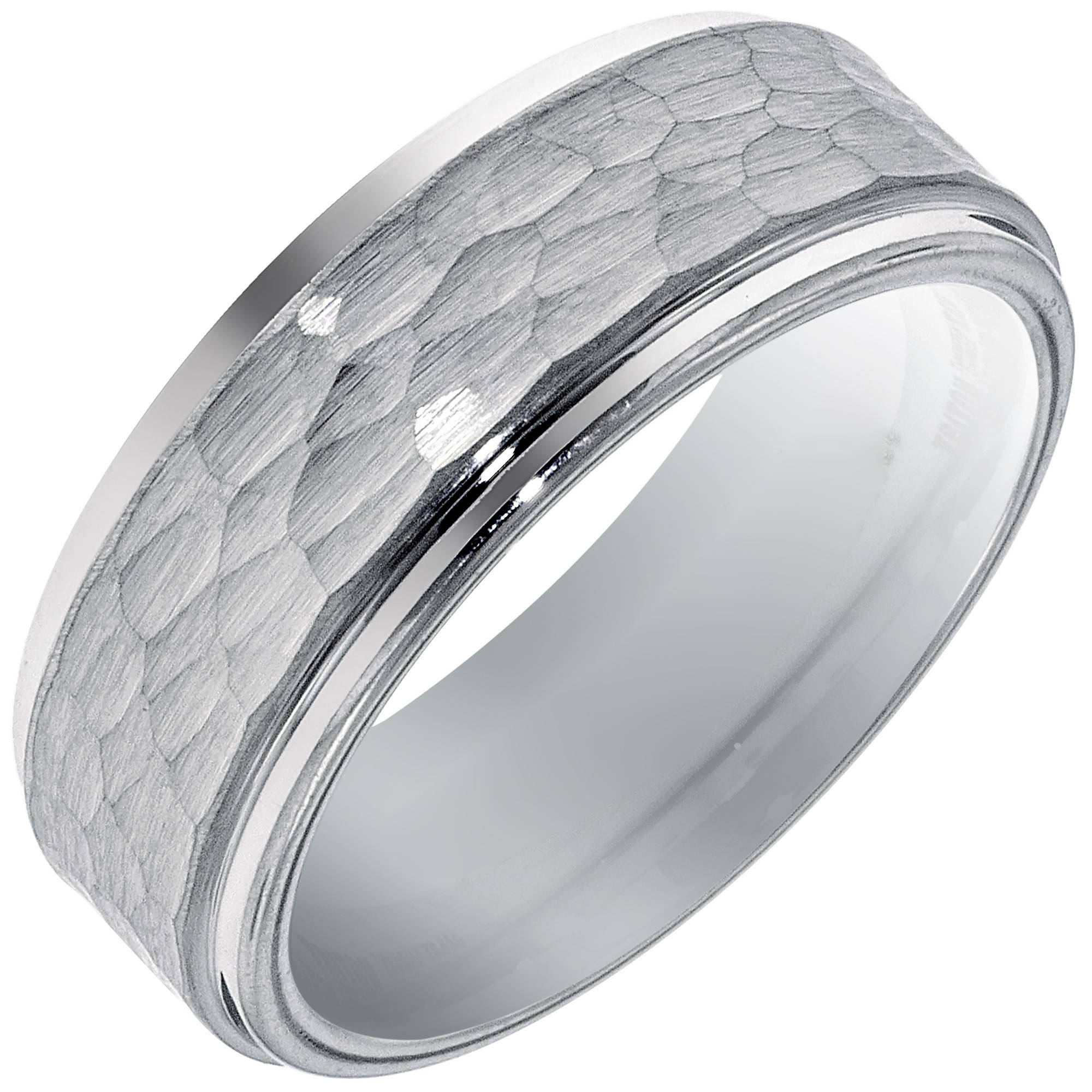 Mens Hammered Wedding Band In White Tungsten (8Mm) Inside Current Platinum Hammered Wedding Bands (Gallery 1 of 15)