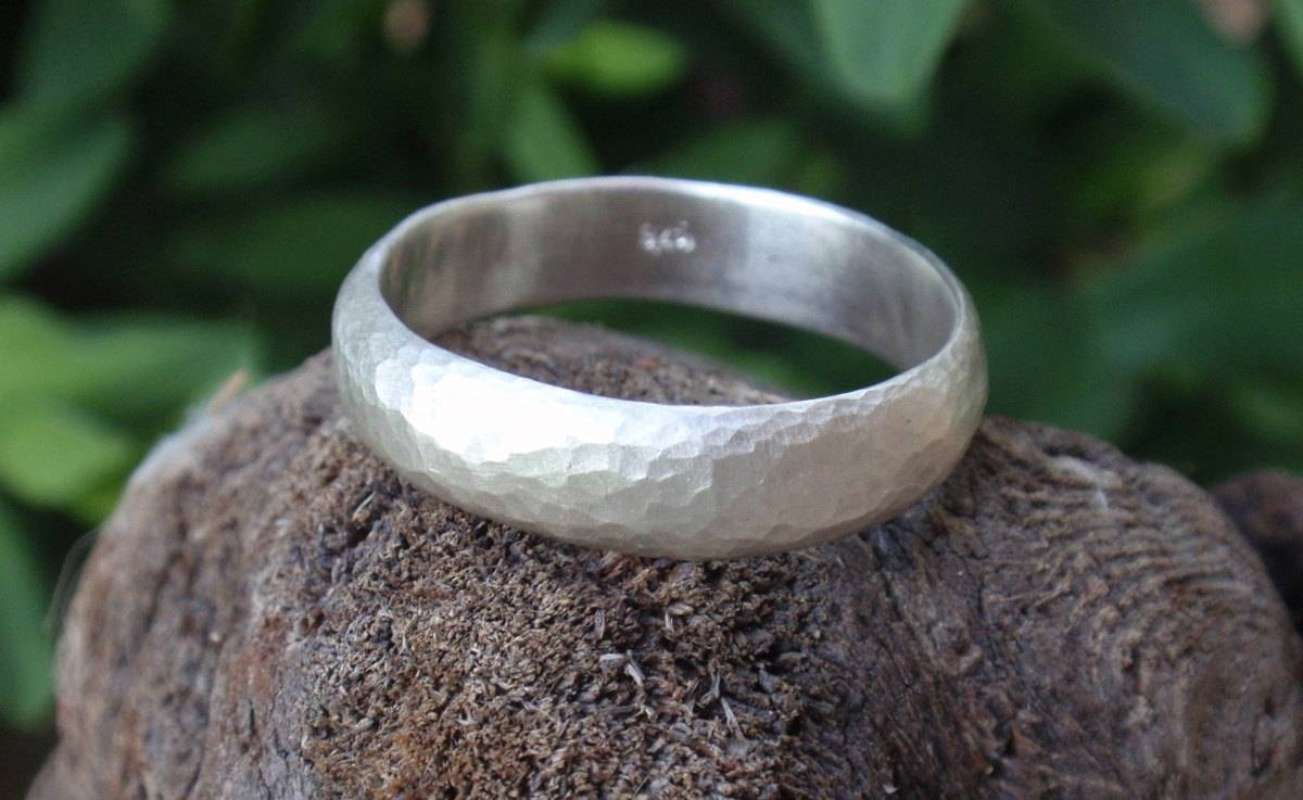 Mens Hammered Wedding Ring Man Wedding Band Ring 5mm Wide Mens Throughout Mens Sterling Silver Wedding Bands (View 9 of 15)