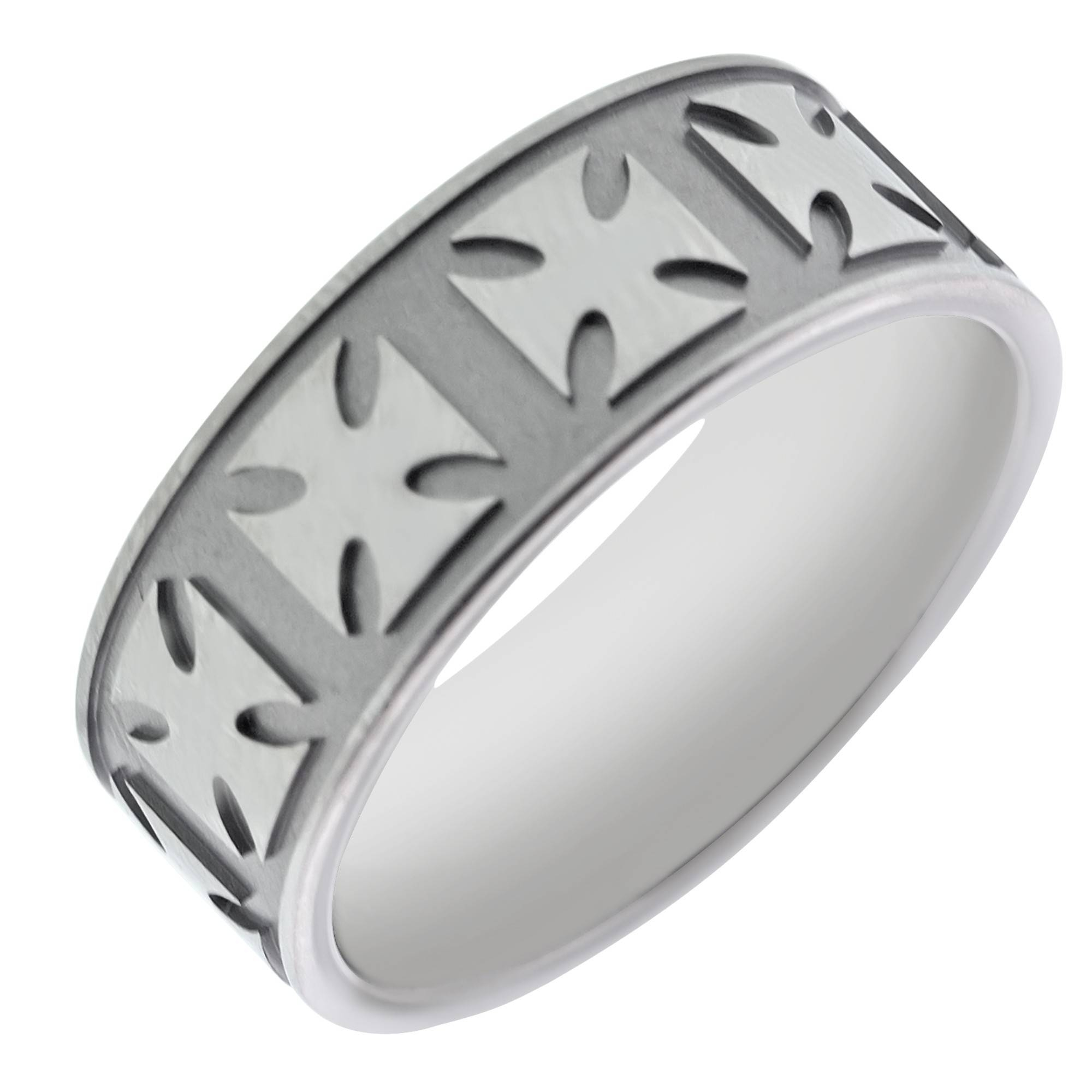 Mens Maltese Cross Wedding Band In Titanium (8Mm) Inside Mens Wedding Bands With Cross (Gallery 15 of 15)