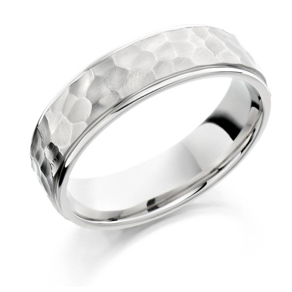 Mens Palladium 950 5Mm Hammered Finish Wedding Ring Intended For Most Recently Released Platinum Hammered Wedding Bands (Gallery 15 of 15)